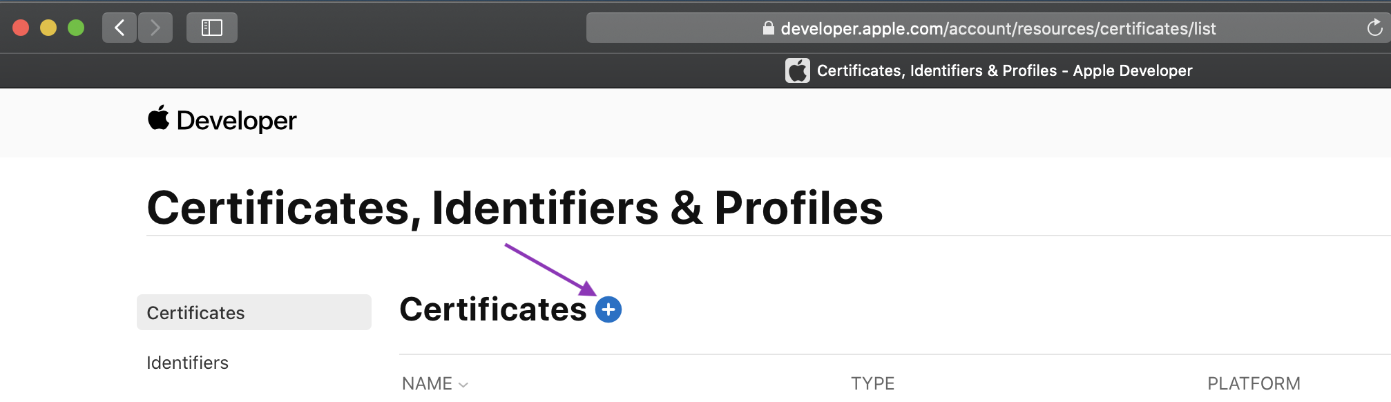 Add certificate button